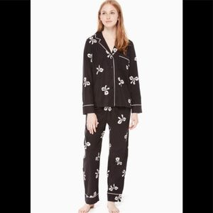 NWT Kate Spade ♠️ Bow Pajama Set Black/White Sm